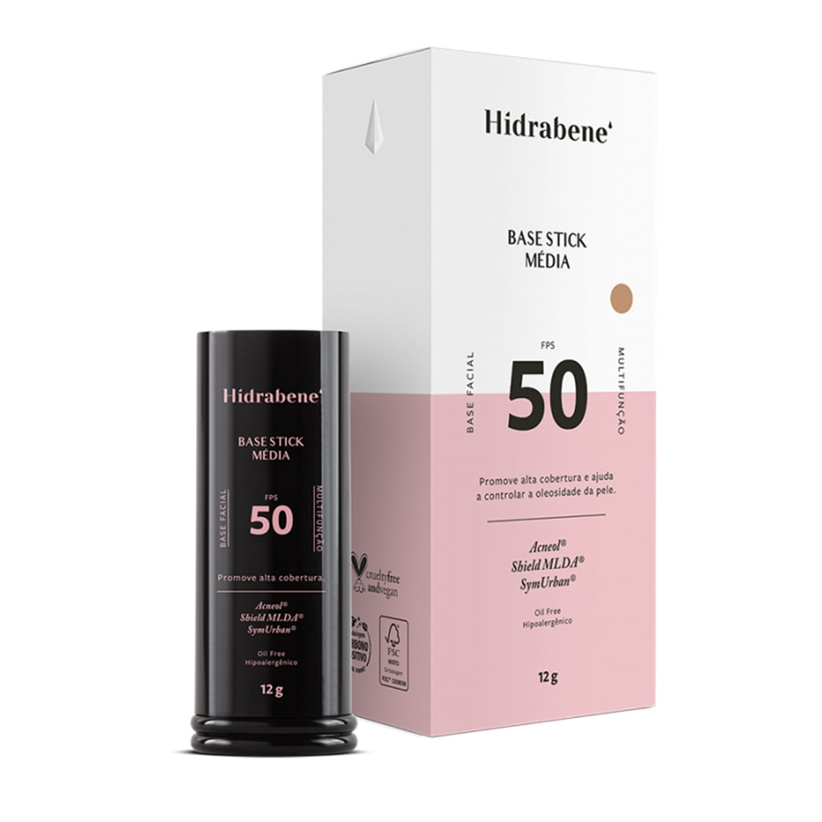 Hidrabene Base Bastão Stick Média FPS50 Matte Hipoalergênico
