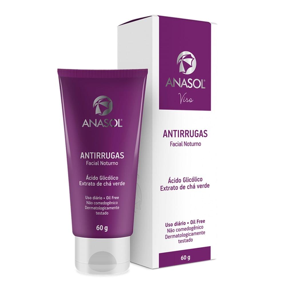 Anasol Facial Viso Antirrugas Noturno - Oil Free - Ácido Glicolico - Extrato de Chá Verde