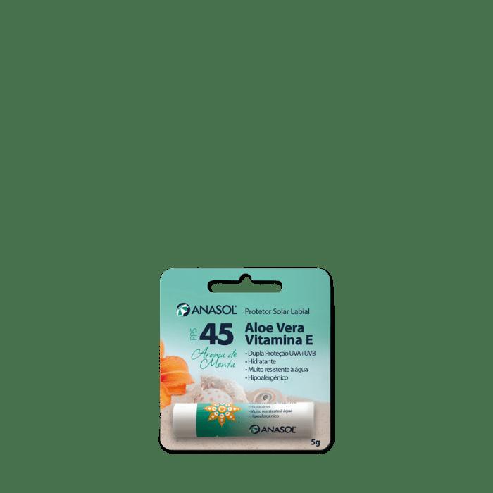 Anasol Protetor Solar Labial FPS 45 Menta 5 g - Aloe Vera - Vitamina E - Hipoalergênico