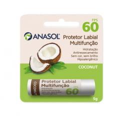 Anasol Protetor Solar Labial FPS 60 Coconut Côco 5 g - Aloe Vera - Vitamina E - Hipoalergênico