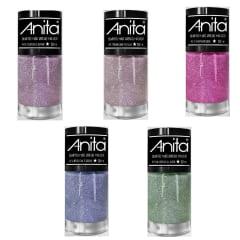 Esmalte Anita Coleção Quanto Mais Brilho Melhor com 5 Cores Glitter